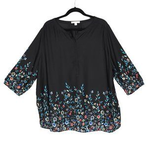 Woman Within Black Floral Blouse 1X